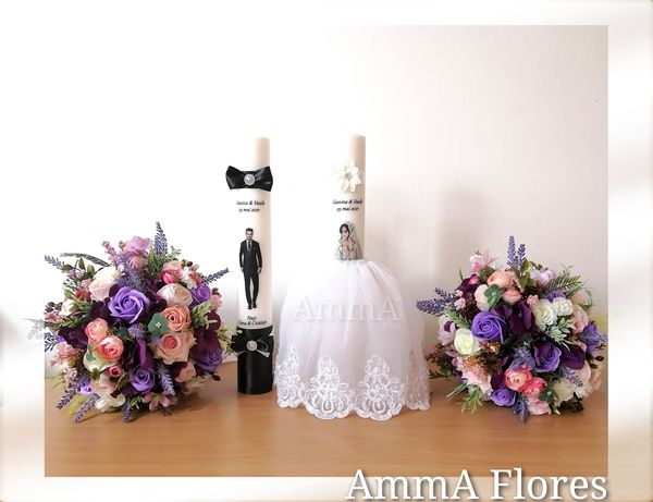 Set lumanari nunta și buchete