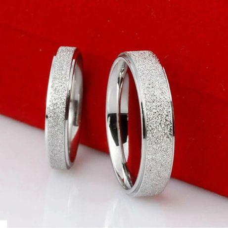 Verighete de nunta din otel inoxidabil suflate cu argint