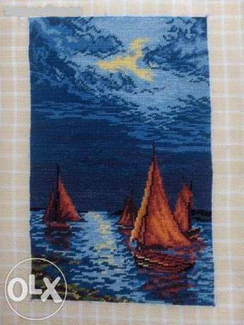 "Goblen "" Marina noaptea "" , lucrat manual de pe diagrama ..."