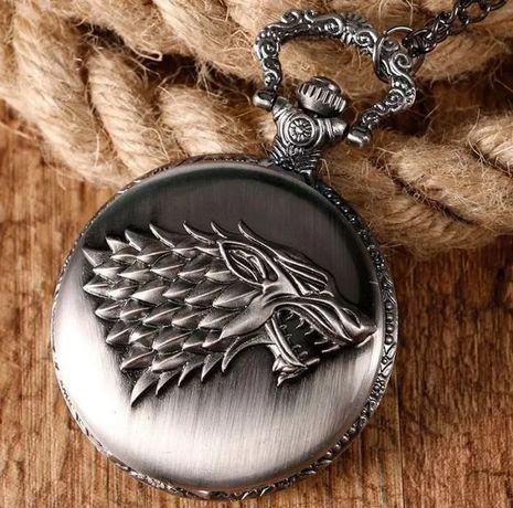 Карманные часы с принтом волка кварцевые. Отличный подарок!