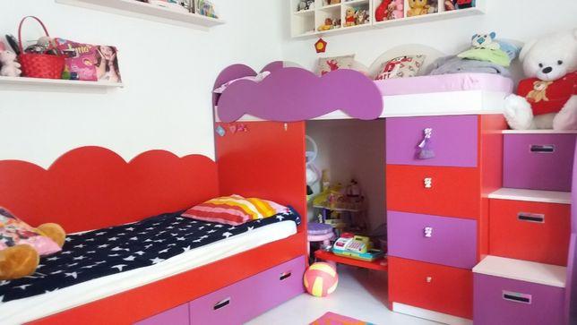 Dormitor copii, pat normal, pat supraetajat dulapuri cu sertare