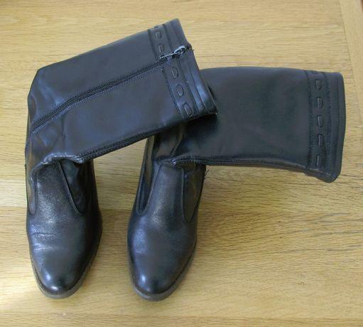 Дамски Кожени Ботуши Черни Зимни Обувки Женски Боти Мода Кожа