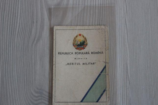 """Brevet Ordinul """"Meritul Militar"""" - 1959 - Republica Populara Romania"""