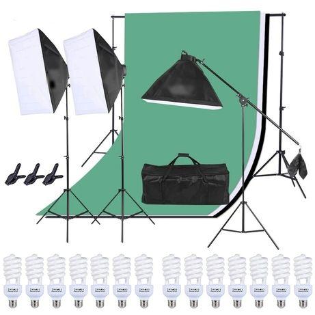 Kit Studio Foto Lumini Profesionale / softbox / fundal / echipament