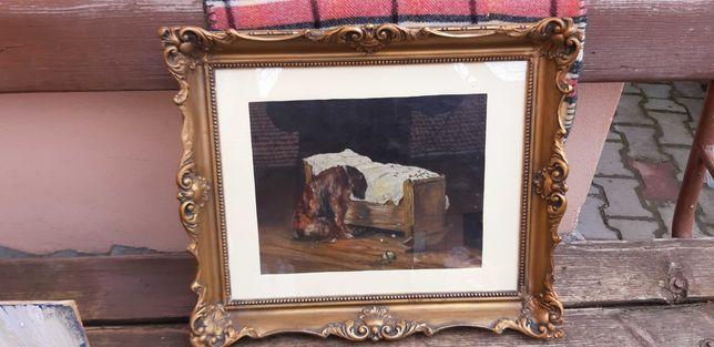 Tablou , pictura caine cu leaganul