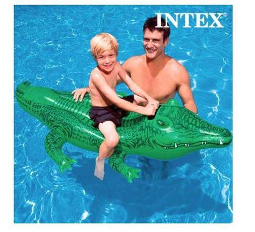 Colac IMK crocodil copii gonflabil cu manere, Verde, piscina INTEX