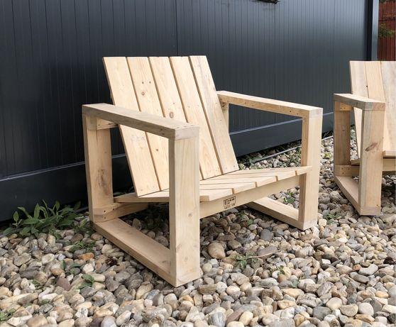 Scaun / fotoliu de terasa, solid & comod, handmade, din lemn recuperat