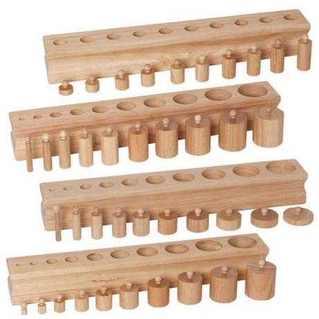 Дървени цилиндри теглилки с дръжки професионални Монтесори материали