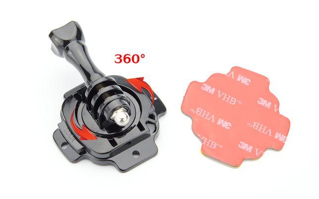 Suport montare action camera pe casca bicicleta moto rotativ 360 grade