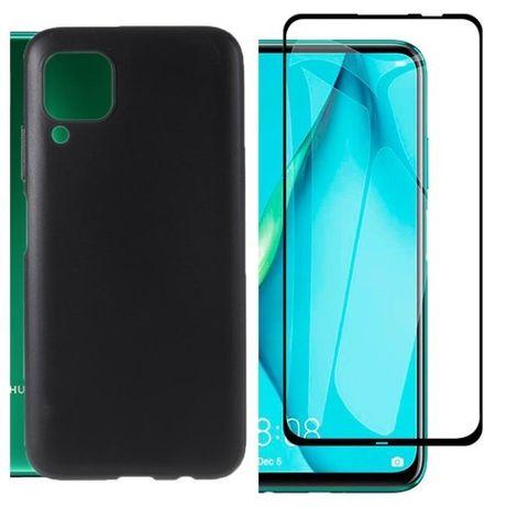 Huawei P40 Lite / E Husa Silicon Clara / Neagra + Folie Sticla Curbata