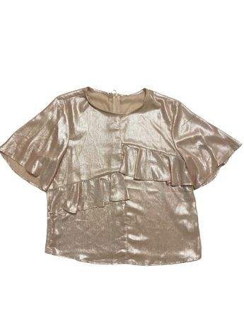Camasa Bluza Strdivarius Rose Gold aurie fir sclipici metalizat scurta
