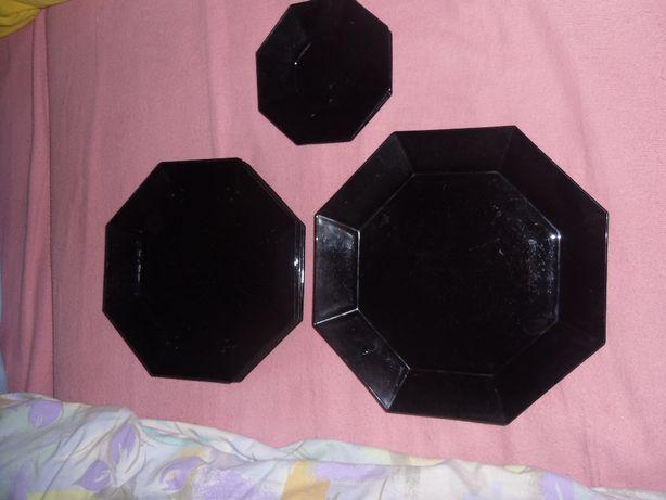set farfurii sticla neagra