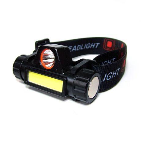 Акумулаторен LED челник, CREE LED + COB CREE LED, лента за глава и маг