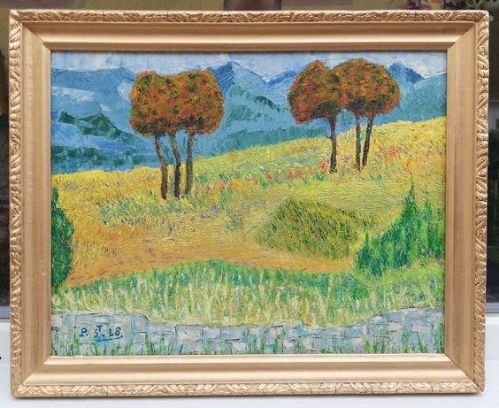 Tablou Peisaj de Vara amintiri după Van Gogh ulei pe panza 41x51cm