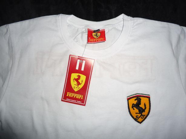 Bluza alba copii 152 164 maleta tricou maneca lunga Ferrari unisex