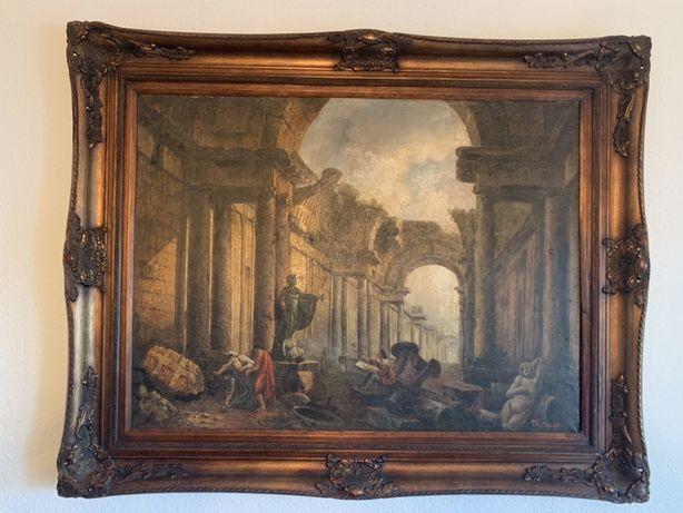 Pictura pe panza vechi baroc semnat Roma antica rama lemn