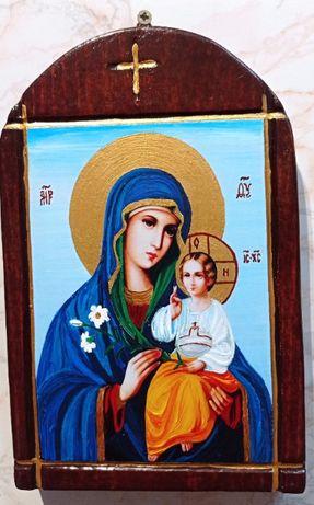 Икона на Св. Богородица Неувяхващ цвят - рисувана