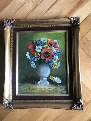 Tablou,pictura germana in ulei pe panza,maci si flori de camp