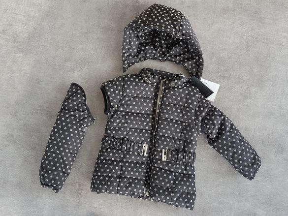 GUESS - 5 годишно дете- Оригинално черно пухено яке с качулка 2 в 1