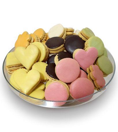 Biscuiti umpluti cu crema caramel si glazurati cu ciocolata 250 gr