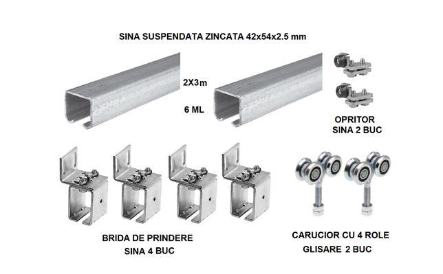 Set poarta sau usa glisanta cu sina zincata de 6m 54x42mm+accesorii