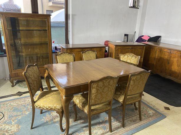 Vand set mobila livig lemn masiv masa+6 scaune, vitrina comoda, servan