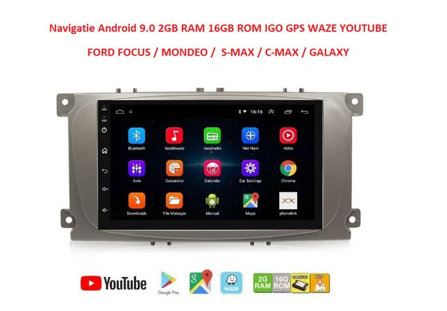 Rama + Navigatie 2din Android 9.1 Ford Focus Mondeo C-max Kuga GPS