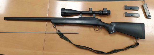 Sniper airsoft f. puternic modificat 4.6 jouli cu luneta mare 24 zoom.
