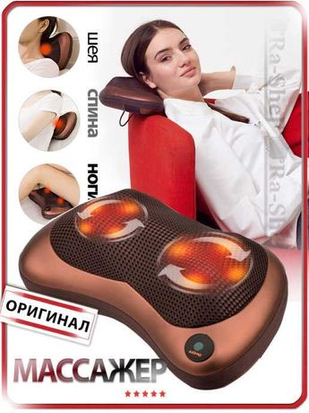 Массажер / массажная подушка с термороликами для дома и автомобиля