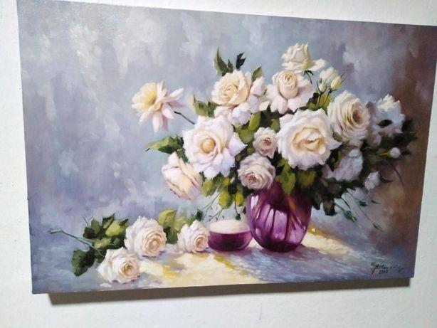 "Tablou ""Vaza cu trandafiri albi"" - 30x40 cm"