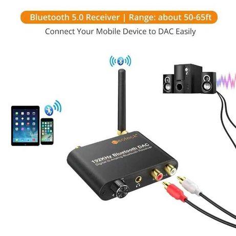Цифров към аналогов аудио конвертор 192Khz Bluetooth DAC + Гаранция