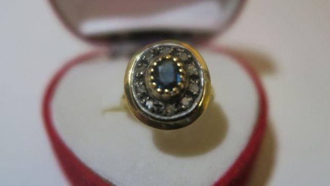 Antic inel din aur 18 k cu safir si diamante in montura de argint