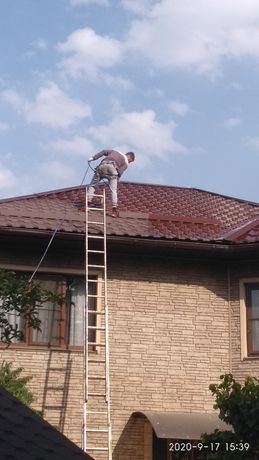 Покраска крыши, металла конструкций .