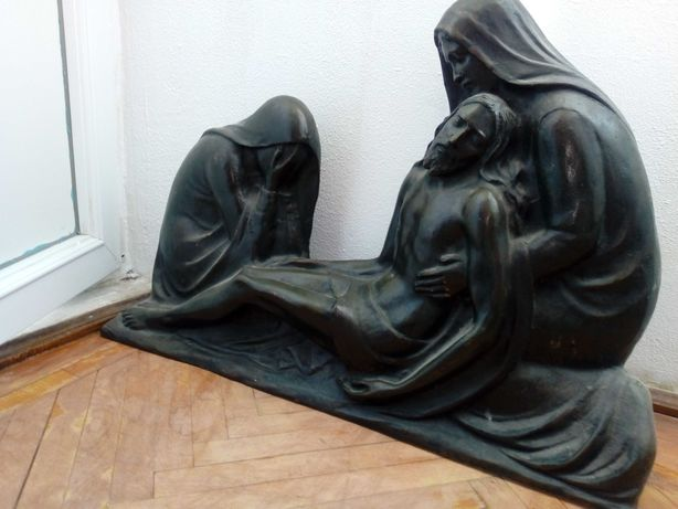 Sculptura statuie antica Renstere creștină Iisus bronz vintage veche