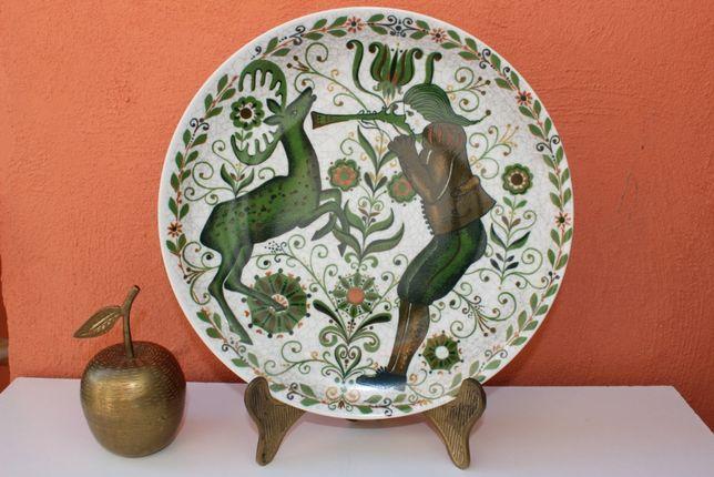 Farfurie portelan KURT HAMMER, motiv vanatoare, Bavarian Folk Art