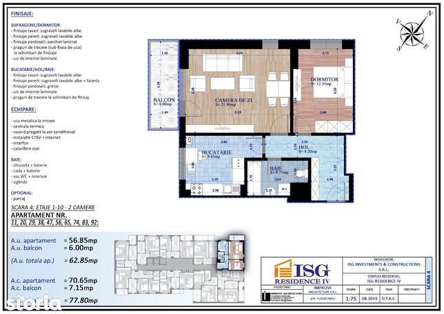 ISG Residence IV -Parcul Carol, apartament 2 camere, decomandat, 63 mp
