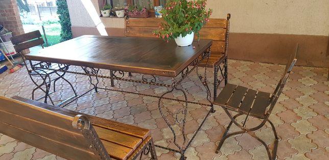 Banca , masa , scaune , set grădina, terasa , foișor fier forjat lemn