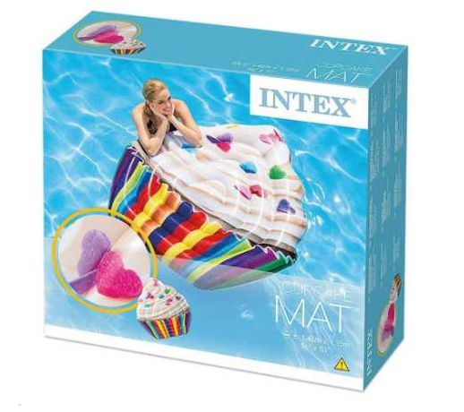 Saltea gonflabila piscina Intex Cupcake multicolor, 1.42m x 1.35m
