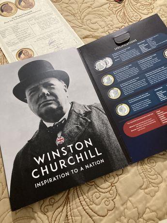 Monede comemorative placate cu aur Winston Churchill