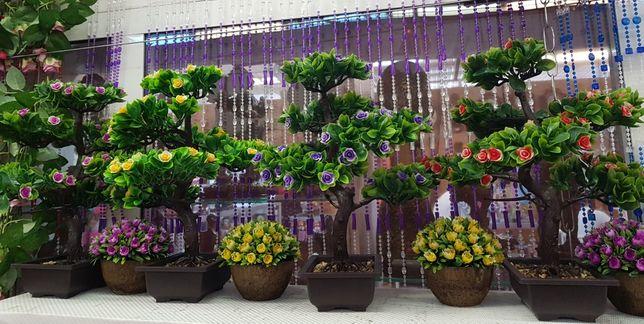 Bonsai artificial in ghiveci,palmier,orhidee,diverse culori