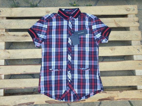 Dolce and Gabbana D&G Checked Tartan Plaid мъжка риза къс ръкав 46 S