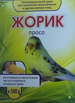 Корм полнорационный для волнистых попугаев и мелких птиц Жорик, просо,