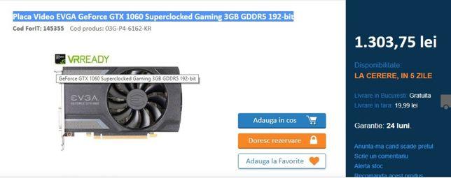 Placa Video EVGA GTX 1060 Superclocked Gaming 3GB GDDR5 192-bit –sigil