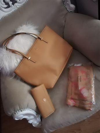 Дамска чанта, портфейл и шал