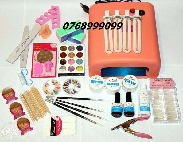 Set kit unghii false cu gel uv/set kit manichiura cu gel uv sigilat