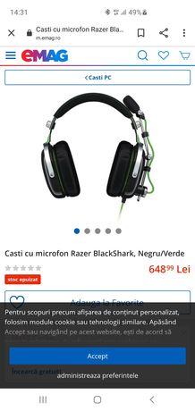 Casti cu microfon gaming Razer Blackshark