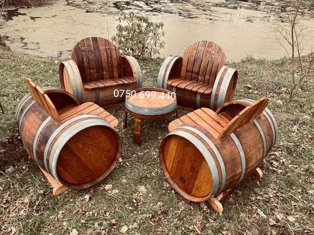 Mobilier  terasa masa bănci scaune lemn masiv