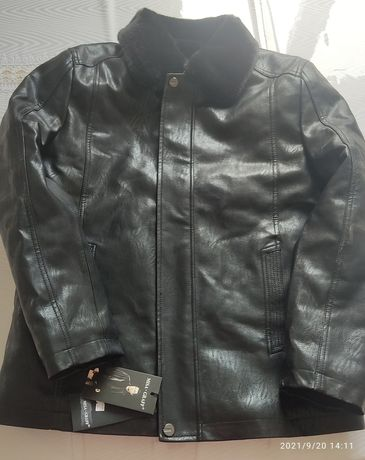 Кожаный куртка с натуральным мехом