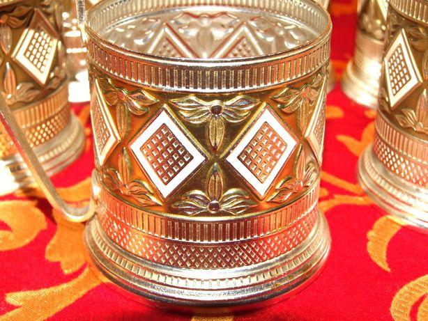 6 suporti metal argintiu pt. pahare, vintage, Made in Russia, CA NOI
