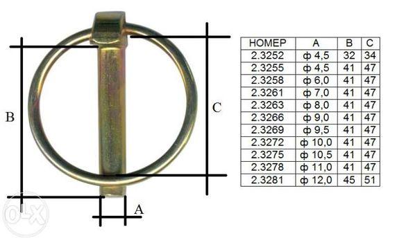 Осигурителни щифтове / щекер, клап щифт, крепежни изделия / за тракт